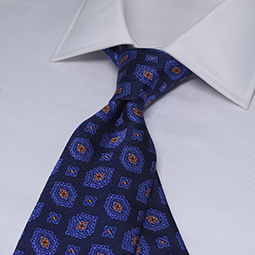 ZN8-1053 ネイビー×ブルー×オレンジ 小紋柄