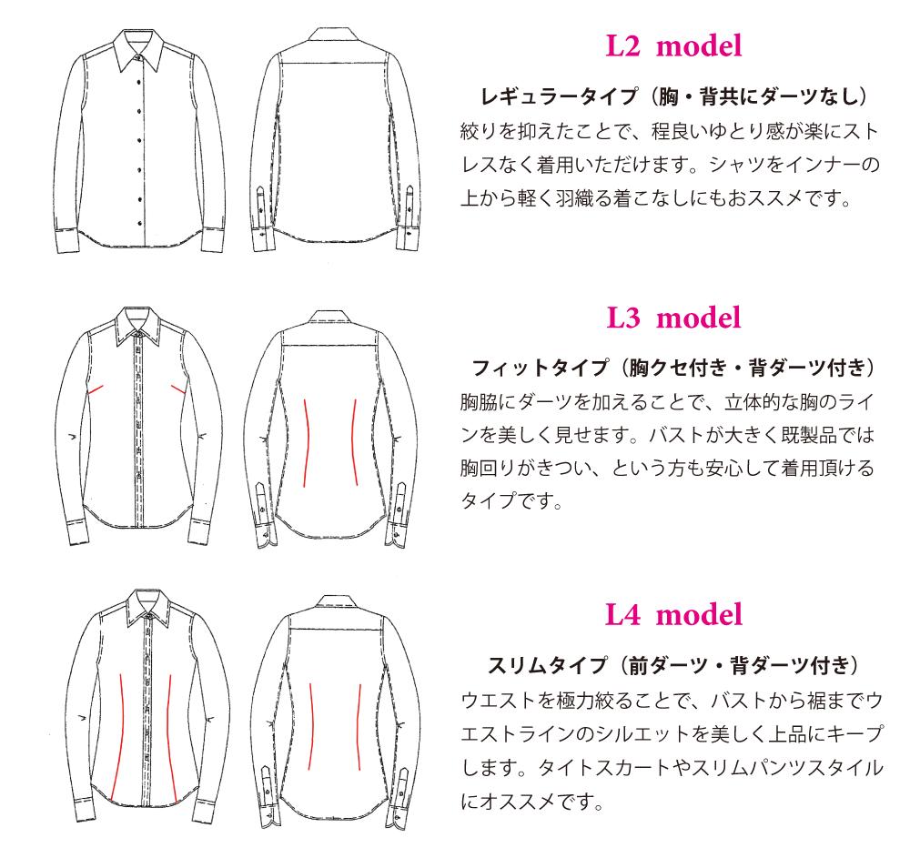 レディースオーダーシャツモデル