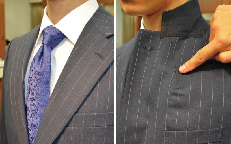 オーダースーツ 体型補正 胸の厚みから来る襟の浮き補正後