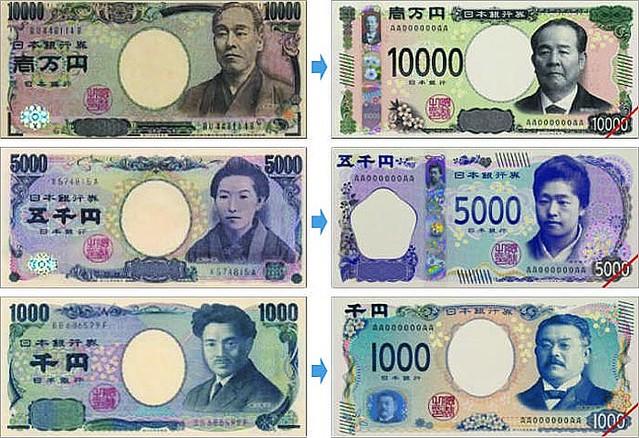 紙幣の顔が変わります